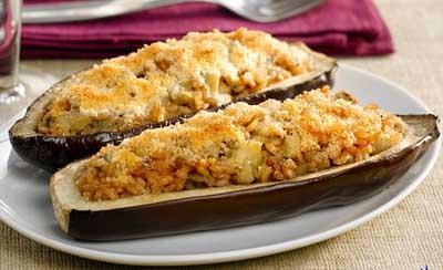 Receta de berenjena rellena de arroz recetas de cocina for Como cocinar la berenjena